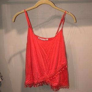 coral women's tank top with lace trim